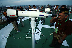 May 5, 2019 - Palembang, South Sumatra, Indonesia - SOUTH SUMATRA, INDONESIA - MAY 5 : MAY 5: Officer seen monitoring the Rukyatul Hilal or new moon position to determine the beginning of Ramadan  on May 5, 2019 in Palembang city, South Sumatra Province, Indonesia. (Credit Image: © Sijori Images via ZUMA Wire)