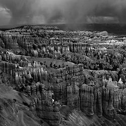 A storm rolls through Bryce Canyon National Park, Utah, USA.