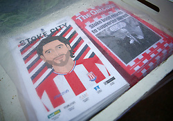 """A general view of a Stoke City match day programme during the Premier League match at the Bet35 Stadium, Stoke. PRESS ASSOCIATION Photo Picture date: Saturday December 2, 2017. See PA story SOCCER Stoke. Photo credit should read: Dave Thompson/PA Wire. RESTRICTIONS: EDITORIAL USE ONLY No use with unauthorised audio, video, data, fixture lists, club/league logos or """"live"""" services. Online in-match use limited to 75 images, no video emulation. No use in betting, games or single club/league/player publications"""