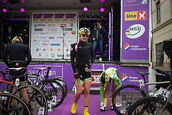 Alison Tetrick (USA) of Cylance Pro Cycling walks back to her bike after signing on before the start of the 76,1 km first stage of the 2016 Ladies' Tour of Norway women's road cycling race on August 12, 2016 between Halden and Fredrikstad, Norway. (Photo by Balint Hamvas/Velofocus)
