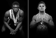 All-area co-wrestlers of the year Johnley Cadet of Port St. Lucie High School (left) and Clayton Williams of Jensen Beach High School are photographed in Stuart on Thursday, March 19, 2015. (XAVIER MASCAREÑAS/TREASURE COAST NEWSPAPERS)