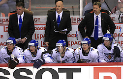 Finland (at back head coach Doug Shedden, coach Timo Lehkonen and coach Jukka Jalonen) at ice-hockey match Finland vs USA at Qualifying round Group F of IIHF WC 2008 in Halifax, on May 11, 2008 in Metro Center, Halifax, Nova Scotia, Canada. (Photo by Vid Ponikvar / Sportal Images)