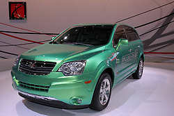11 February 2009: Saturn VUE Plug-in Concept.  This vehicle is expected to be the first regular production plug-in hybrid electric vehicle. Depending on a consumerÕs drive cycle, the Vue plug-in hybrid will be the most fuel-efficient vehicle offered by a major automaker..This Vue Green Line will use a modified version of GMÕs two-mode hybrid system and plug-in technology, a lithium-ion battery pack, highly efficient electronics and powerful electric motors to achieve significant increases in fuel economy. When the lithium-ion batteries are fully charged, the Vue plug-in hybrid will potentially double the fuel efficiency of any current SUV. After electric-only propulsion depletes the lithium-ion energy storage system to a specified level, the battery is replenished by utilizing the two-mode hybrid systemÕs electric motors and regenerative brake systems.. The Chicago Auto Show is a charity event of the Chicago Automobile Trade Association (CATA) and is held annually at McCormick Place in Chicago Illinois.