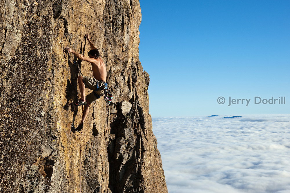 Jonathan Lowell climbing Hellfire, 5.11b, Mt. St. Helena, Robert Louis Stevenson State Park, Napa Valley, Ca