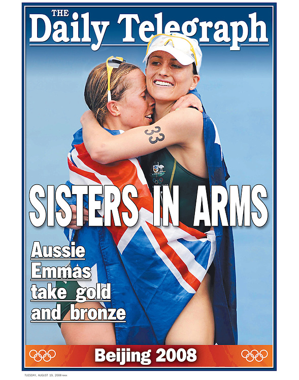 Australia's Emma Snowsill (L) is hugged by thread placed compatriot Emma Moffat after winning gold in the Triathlon event at the 2008 Beijing Olympics. (Copyright Michael Dodge/Daily Telegraph)