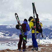 Hadley Hammer (L) & Forrest Jillson (R) scope their location in the Teton backcountry.