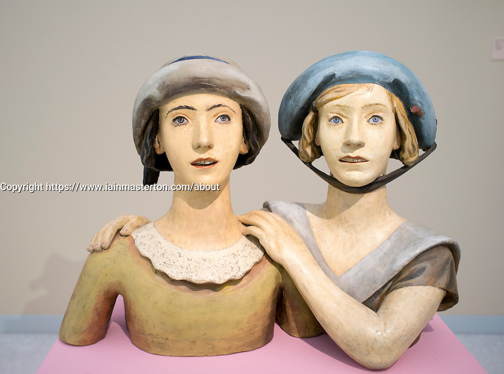 Sculpture Girlfriends by Karel Dvorak at Museum of Modern Art or Veletrzni Palace Prague in Czech Republic