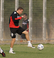 Nicosia, Cyprus - Thursday, October 11, 2007: Wales' captain Craig Bellamy, during a training session at the Makario Stadium, only a week after undergoing groin surgery, ahead of their UEFA Euro 2008 Qualifying match against Cyprus in Nicosia. (Photo by David Rawcliffe/Propaganda)