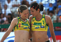 Ana Kocjancic and Andreja Vodeb (Aliansa Team) at qualifications for 14th National Championship of Slovenia in Beach Volleyball and also 4th tournament of series TUSMOBIL LG presented by Nestea, on July 25, 2008, in Kranj, Slovenija. (Photo by Vid Ponikvar / Sportal Images)/ Sportida)