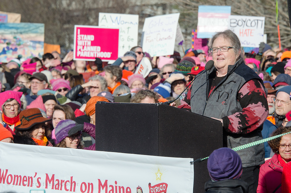 Augusta, Maine, USA. 21st Jan, 2017.  Lois Galgay-Reckitt of the House of Representatives addresses the Women's March on Maine rally in front of the Maine State Capitol. The March on Maine is a sister rally to the Women's March on Washington. Credit: Jennifer Booher/Alamy Live News