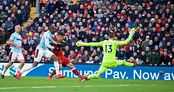 LIVERPOOL, ENGLAND - Saturday, February 24, 2018: Liverpool's Roberto Firmino sees his shot saved by West Ham United's goalkeeper Adrian San Miguel del Castillo during the FA Premier League match between Liverpool FC and West Ham United FC at Anfield. (Pic by David Rawcliffe/Propaganda)