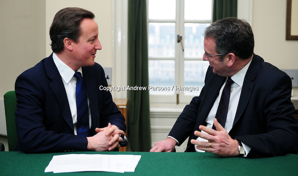 Leader of the Conservative Party David Cameron with Mark Hoban, Member of Parliament for Fareham in his office in Norman Shaw South, January 11, 2010. Photo By Andrew Parsons / i-Images.