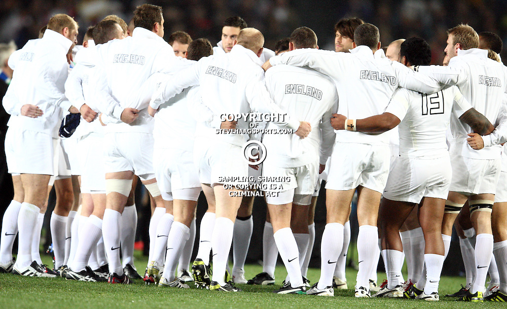AUCKLAND, NEW ZEALAND - OCTOBER 01, The England team during the 2011 IRB Rugby World Cup match between England and Scotland at Eden Park on October 01, 2011 in Auckland, New Zealand<br /> Photo by Steve Haag / Gallo Images