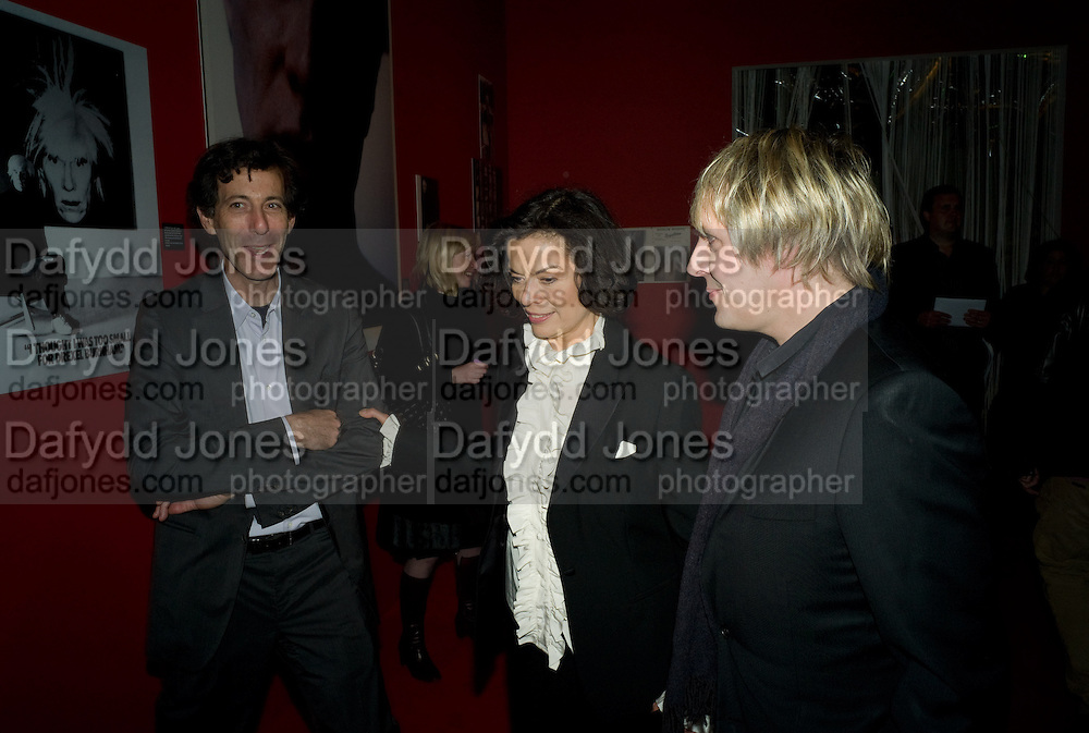 Ralph Rugoff; Bianca Jagger; Nick Rhodes,  ANDY WARHOL: OTHER VOICES, OTHER. ROOMS.  The Hayward Gallery. Southbank. 6 October 2008 *** Local Caption *** -DO NOT ARCHIVE-© Copyright Photograph by Dafydd Jones. 248 Clapham Rd. London SW9 0PZ. Tel 0207 820 0771. www.dafjones.com.