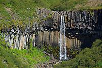 Islande, Skaftafell,  orgues basaltiques et chutes d'eau de  Svartifoss // Iceland, Skaftafell, Svartifoss waterfall