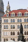 Altstadt,  Neumarkt, Standbild des Koenigs Friedrich August II. von Sachsen (reg. 1836-1854) von Ernst Julius Haehnel, Dresden, Sachsen, Deutschland.|.Dresden, Germany,  Newmarket, Friedrich August II memorial