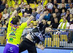 Nemanja Pribak #8 of Besiktas and Vid Poteko #15 of RK Celje Pivovarna Lasko during handball match between RK Celje Pivovarna Lasko (SLO) and Besiktas J.K. (TUR)  in 14th Round of EHF Men's Champions League 2015/16, on March 5, 2016 in Arena Zlatorog, Celje, Slovenia. (Photo by Ziga Zupan / Sportida)