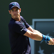 A quarterfinal match between Andy Murray and Feliciano Lopez on Stadium 1 during the 2015 BNP Paribas Open in Indian Wells, California on Thursday, March 19, 2015.<br /> (Photo by Billie Weiss/BNP Paribas Open)