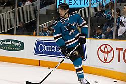 March 5, 2011; San Jose, CA, USA;  San Jose Sharks defenseman Justin Braun (61) warms up before the game against the Dallas Stars at HP Pavilion.  Dallas defeated San Jose 3-2. Mandatory Credit: Jason O. Watson / US PRESSWIRE
