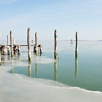 VENICE, ITALY - FEBRUARY 05:  A general view of the North side of the frozen Venice Lagoon on February 5, 2012 in Venice, Italy. Italy as most of Europe is under a spell of very cold weather, it is more than 20 years aince the Venice Lagoon last froze.  (Photo by Marco Secchi/Getty Images)