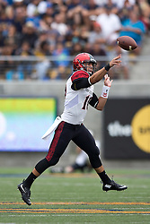 BERKELEY, CA - SEPTEMBER 12:  Quarterback Christian Chapman #10 of the San Diego State Aztecs passes against the California Golden Bears during the second quarter at California Memorial Stadium on September 12, 2015 in Berkeley, California. The California Golden Bears defeated the San Diego State Aztecs 35-7. (Photo by Jason O. Watson/Getty Images) *** Local Caption *** Christian Chapman