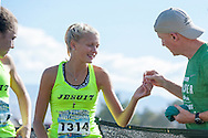 Jesuit (Portland, Oregon) head coach Tom Rothenberger before the start of the Bob Firman Invitational girls elite race, September 24, 2016 at Eagle Island State Park, Eagle, Idaho. <br /> <br /> Jesuit (95) won the eighteen field race followed by American Fork (102) and Davis (116).
