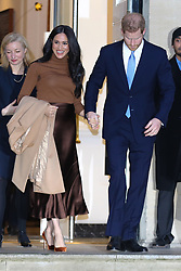 © Licensed to London News Pictures. 07/01/2020. London, UK. Prince Harry, Duke of Sussex and Meghan, Duchess of Sussex leave Canada House in London after meeting  Janice Charette, High Commissioner for Canada to the UK and the staff. Photo credit: Dinendra Haria/LNP