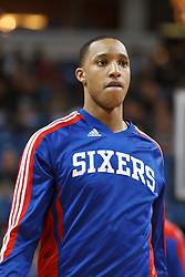 March 18, 2011; Sacramento, CA, USA;  Philadelphia 76ers shooting guard Evan Turner (12) warms up before the game against the Sacramento Kings at the Power Balance Pavilion. Philadelphia defeated Sacramento 102-80.