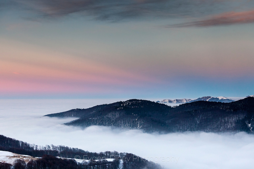 The ridge of Central Balkan at sunset in winter