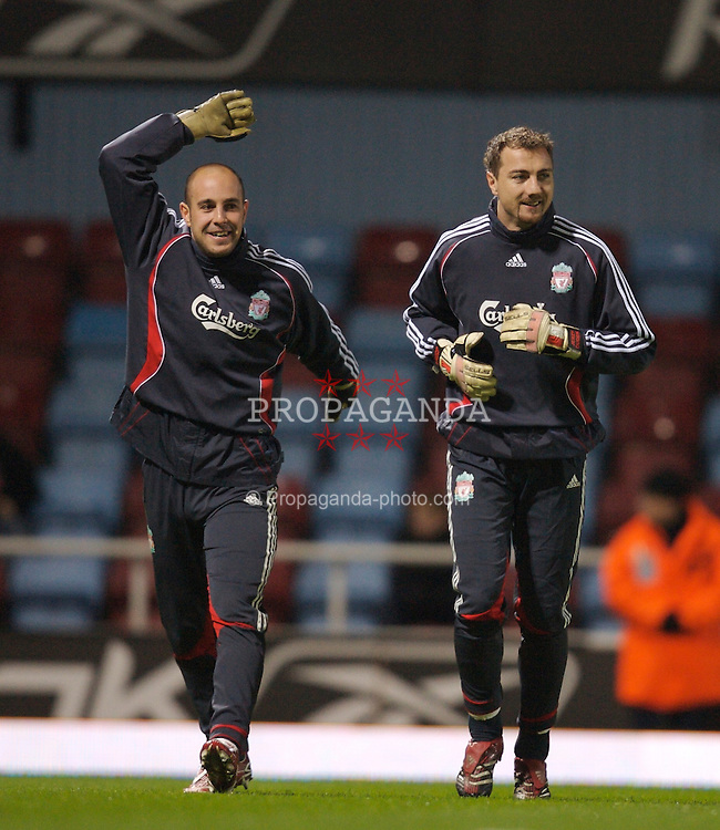London, England - Tuesday, January 30, 2007: Liverpool's goalkeeper Jose Reina and goalkeeper Jerzy Dudek warms-up before the Premiership match against West Ham United at Upton Park. (Pic by David Rawcliffe/Propaganda)