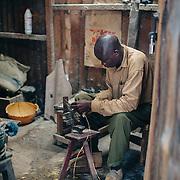 Arts and crafts workplace in Kibera slum, Kenya