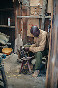 Arts and crafts workplace in Kibera slum, Kenya