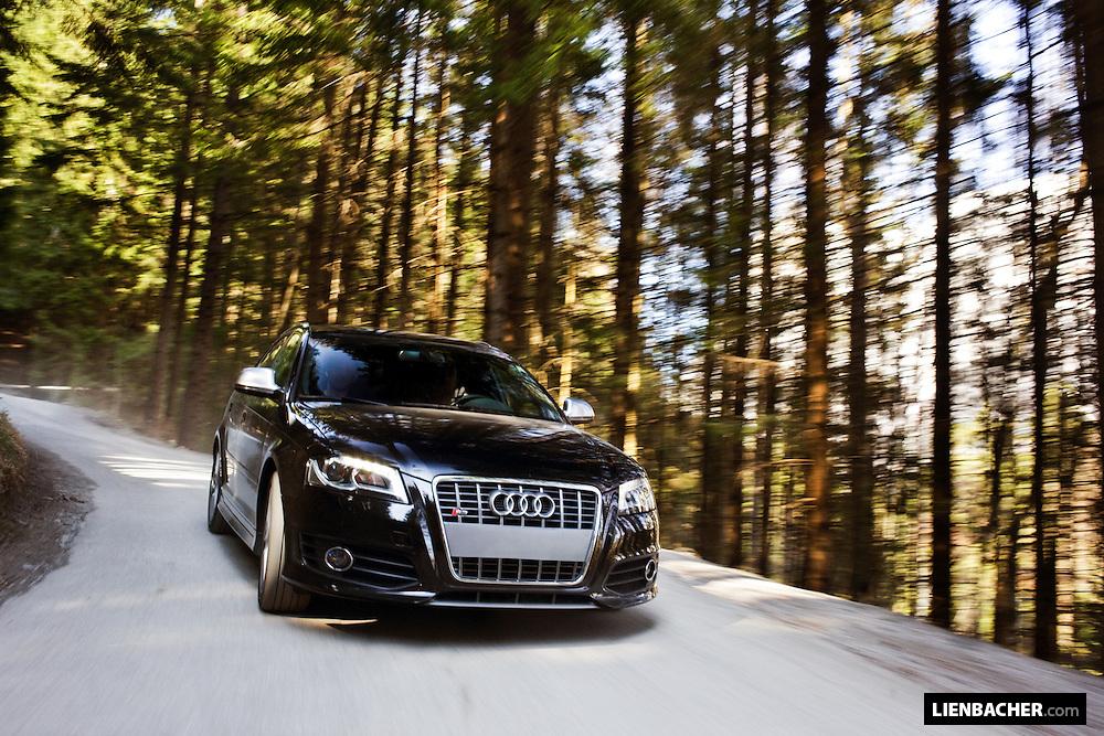 A black 2009 Audi S3 Sportback shot driving on austrian mountain-roads. Photo: Wolfgang Lienbacher