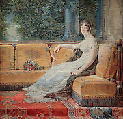 Empress Josephine at Malmaison, nee Josephine de Beauharnais, 1763-1814, first wife of Emperor Napoleon I, on a Gobelins tapestry designed by Gerard Francois Antoine, 1760-1843, in the collection of the Chateaux de Malmaison et Bois-Preau, France. Picture by Manuel Cohen