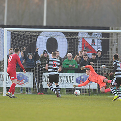 TELFORD COPYRIGHT MIKE SHERIDAN GOAL. Darlington's Alex Storey scores to make it 1-0 during the Vanarama Conference North fixture between Darlington and AFC Telford United at Blackwell Meadows on Saturday, November 30, 2019.<br /> <br /> Picture credit: Mike Sheridan/Ultrapress<br /> <br /> MS201920-032