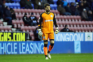 Wigan Athletic Goalkeeper Scott Carson looks on. Skybet football league championship match , Wigan Athletic v Blackburn Rovers at the DW Stadium in Wigan, Lancs on Saturday 17th Jan 2015.<br /> pic by Chris Stading, Andrew Orchard sports photography.