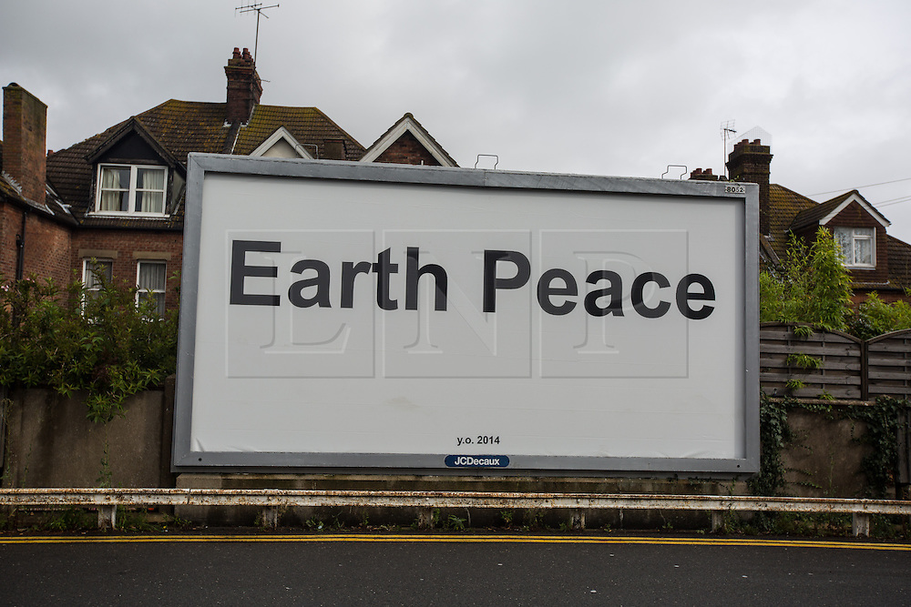 """@Licensed to London News Pictures 28/08/2014. Folkestone, Kent, UK. Yoko Ono, """"Earth Peace"""", 2014. Folkestone Triennial is one of the most ambitious exhibitions of contemporary art outside the gallery context presented in the UK. It takes place in the seaside town of Folkestone, the coast of England nearest to continental Europe. Artists of international standing are invited to use the town as their 'canvas', utilising public spaces to create striking new art that reflects issues affecting both the town and the wider world. Photo credit: Manu Palomeque/LNP"""