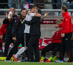 01.06.2012, Tivoli, Innsbruck, AUT, UEFA EURO 2012, Testspiel, Oesterreich vs Ukraine, im Bild Torjubel Oesterreich nach dem 3 zu 2 durch Marko Arnautovic, (AUT, #07) mit Marcel Koller, (AUT, Trainer) // Celebration from Austria after winning Goal from Marko Arnautovic, (AUT, #07) with Marcel Koller, (AUT, Trainer) during Preparation Game for the UEFA Euro 2012 betweeen Austria and Ukraine at the at the Tivoli Stadium, Innsbruck, Austria on 2012/06/01. EXPA Pictures © 2012, PhotoCredit: EXPA/ Juergen Feichter
