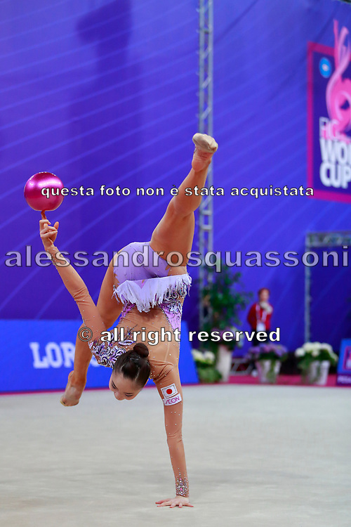 Minagawa Kaho during Qualification of ball at World Cup Pesaro 2018.<br />