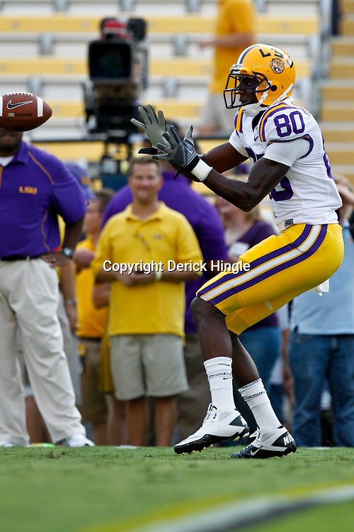 Sep 18, 2010; Baton Rouge, LA, USA;  LSU Tigers wide receiver Terrence Toliver (80) during warm ups prior kickoff of a game against the Mississippi State Bulldogs at Tiger Stadium. The LSU Tigers defeated the Mississippi State Bulldogs 29-7. Mandatory Credit: Derick E. Hingle
