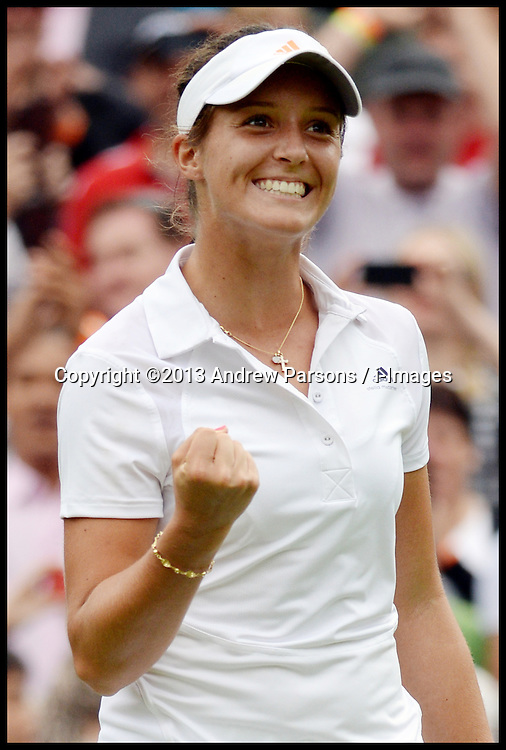 Britain's Laura Robson celebrates beating Maria Kirilenko on court No1 at the Wimbledon Tennis Championships<br /> Tuesday, 25th June 2013<br /> Picture by Andrew Parsons / i-Images
