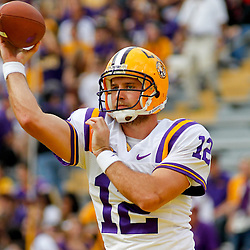 November 25, 2011; Baton Rouge, LA, USA; LSU Tigers quarterback Jarrett Lee (12) against the Arkansas Razorbacks prior to kickoff of a game at Tiger Stadium. LSU defeated Arkansas 41-17. Mandatory Credit: Derick E. Hingle-US PRESSWIRE