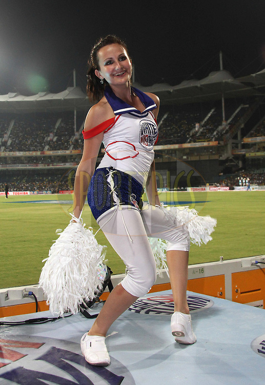 Cheerleader during match 3 of the NOKIA Champions League T20 ( CLT20 )between the Chennai Superkings and the Mumbai Indians held at the M. A. Chidambaram Stadium in Chennai , Tamil Nadu, India on the 24th September 2011..Photo by Shaun Roy/BCCI/SPORTZPICS