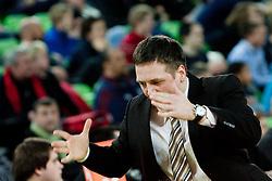 Aleksandar Sekulic, head coach of KRKA Novo Mesto, during basketball match between KK Union  Olimpija and and KK KRKA Novo Mesto in 20th Round of ABA League, on February 11, 2012, in Arena Stozice, Slovenia. (Photo by Matic Klansek Velej / Sportida)