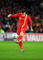 Wales Gareth Bale (Tottenham)  fires over early on - Photo mandatory by-line: Joe Meredith/JMP  - Tel: Mobile:07966 386802 12/10/2012 - Wales v Scotland - SPORT - FOOTBALL - World Cup Qualifier -  Cardiff   - Cardiff City Stadium -