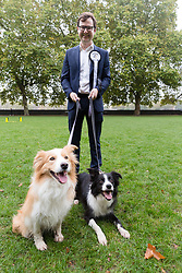 © Licensed to London News Pictures. 26/10/2017. LONDON, UK.  ALEX NORRIS MP and his dogs, Boomer and Corona at the Westminster Dog of the Year Competition held in Victoria Tower Gardens. The Westminster Dog of the Year Competition is organised jointly by the Kennel Club and the Dogs Trust..  Photo credit: Vickie Flores/LNP