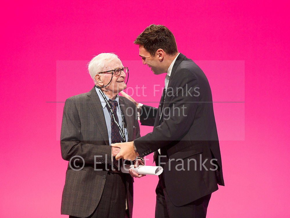 Labour Party Conference<br /> at Manchester Central, Manchester, Great Britain <br /> 24th September 2014 <br /> <br /> Harry Smith <br /> speaking during the Health &amp; Care debate <br /> with Andy Burnham MP <br /> <br /> <br /> Photograph by Elliott Franks <br /> Image licensed to Elliott Franks Photography Services