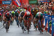 Arrival sprint, Elia Viviani (ITA - QuickStep - Floors), Giacomo Nizzolo (ITA - Trek - Segafredo), Peter Sagan (SVK - Bora - Hansgrohe) , during the UCI World Tour, Tour of Spain (Vuelta) 2018, Stage 3, Mijas - Alhaurin de la Torre 178,2 km in Spain, on August 27th, 2018 - Photo Luca Bettini / BettiniPhoto / ProSportsImages / DPPI