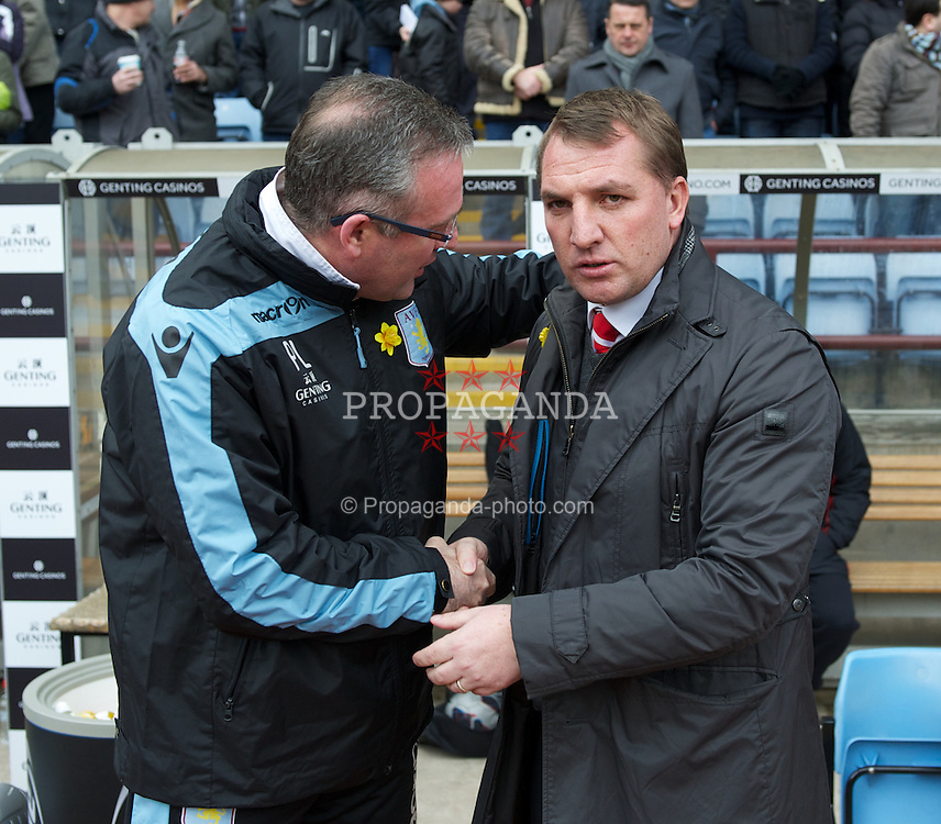 BIRMINGHAM, ENGLAND - Easter Sunday, March 31, 2013: Liverpool's manager Brendan Rodgers and Aston Villa's manager Paul Lambert before the Premiership match at Villa Park. (Pic by David Rawcliffe/Propaganda)