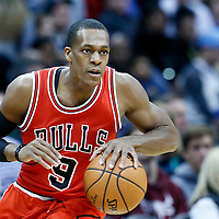 22 November 2016: Chicago Bulls guard Rajon Rondo (9) brings the ball up court during the Denver Nuggets 110-107 victory over the Chicago Bulls, at the Pepsi Center, Denver, Colorado, USA.